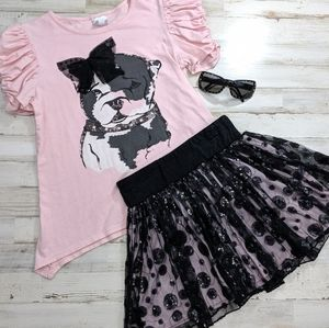 DISNEY 2 Piece Adorable Detailed Dog Skirt Outfit